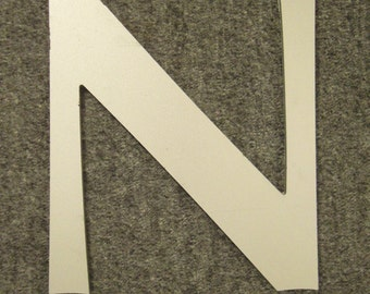 HOUSE ACRYLIC  NUMBER Cutout Roman letters N Light grey silver and clear app 8 in long 6 7/8 in wide 1/4 in thick