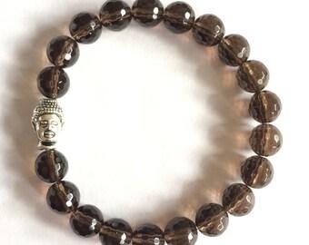 smokey quartz buddha mala bracelet, yoga jewelry, yoga bracelet, buddha bracelet, charm bracelet, stretch bracelet, gemstone bracelet