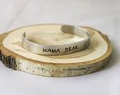 Hand Stamped Bracelet- Cuff Bracelet - Mama Bear