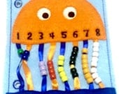 SALE Orange Jellyfish bead counting quiet book page educational game busy bags quiet book