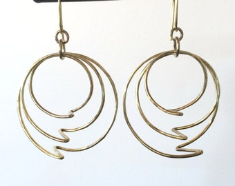 Lightning Bolt Yellow Brass Hoop Earrings