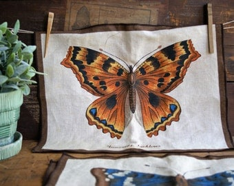 Vintage Linen Butterfly Placemats Made in Holland 1970s Butterflies Frameable Wall Hangings Set of 3 Summer or Autumn Decor