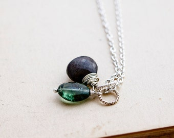 Gemstone Necklace, Moonstone Necklace, Black Moonstone, Sterling Silver, Moonstone Pendant, Apatite, Green Gemstone, Gemstone Jewelry