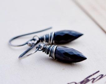 Onyx Earrings, Dangle Earrings, Drop Earrings, Wire Wrapped, Goth, Noir, Spikes, Black Chalcedony, Sterling Silver, PoleStar