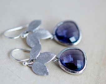Dangle Earrings, Glass Earrings, Lavender, Drop Earrings, Sterling Silver, Nature, Garden Jewelry, Purple, PoleStar,