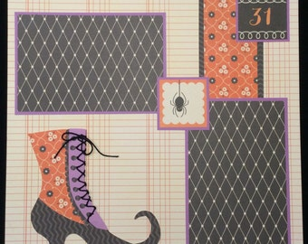 Halloween Scrapbook Layout, Witches Shoe Scrapbook Page, Halloween Album Layout, 12x12 Premade Scrapbook Page, Witch Shoe, Halloween Album
