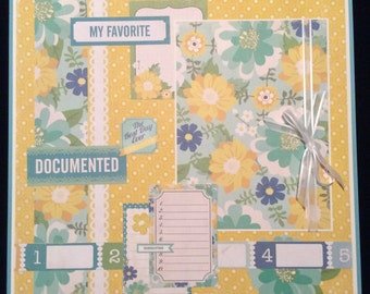 Premade Single 12x12 Scrapbook Layout Page, Favorite, Scrapbook Album Page, Floral Layout, Best Day Ever,