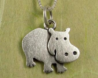 Tiny hippo necklace