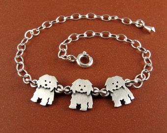 Coton de Tulear bracelet - 3 charms
