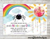 Itsy bitsy Spider rainbow photo birthday party invitation - digital file