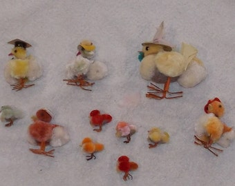 Lot of homemade handmade paper mache chickens chicks small large