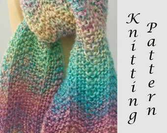 Boho Scarf Knitting Pattern, Instant Download pattern, Easy Knit Scarf PDF Pattern, Chevron Scarf Pattern