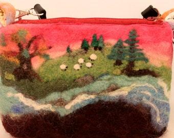 Purse,  Wool Felted , Needle Felted, Wet Felted,  Handmade ART  Purse #1907