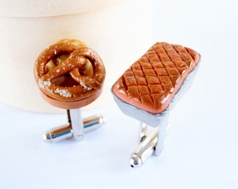 German Meat Loaf Cufflinks - German Food Cuff Links - Miniature Food Art Jewelry Collectable by Schickie Mickie 100% handmade