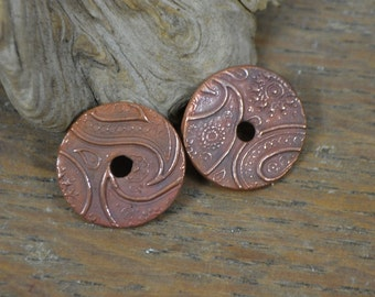 Copper Just Paisley Discs (1 pair) for Artisan Jewelry Designs