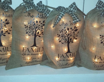 Burlap Print, Family Tree, Home, Light, Burlap Bag, Monogram, Burlap Bag Light, Personalized Burlap, Print, Sign