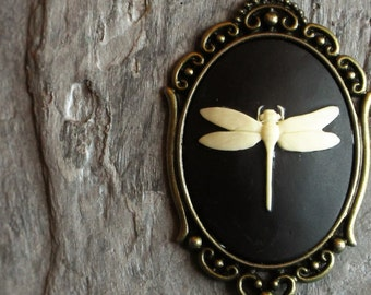 Dragonfly cameo necklace, black cameo necklace, antique brass necklace, cameo jewelry, holiday gift ideas, unique Christmas gift