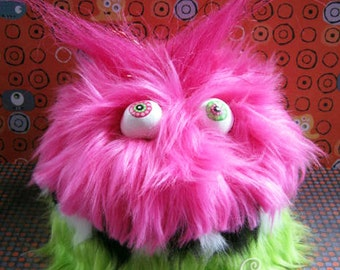 MONSTER!! Bright Pink and Green Fluffy Monster Box Adorable Soft Cute Box to hide your stuff in plain sight! Furry and FUN!