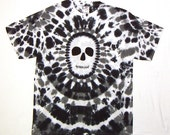Special Order For cjhain - Black and White Tie Dye TShirt, Tie dye Zombie Shirt, Skull shirt, Adult Large