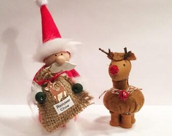 Little Santa Claus & Reindeer Christmas Decoration with Mustache Santa Decorations