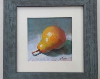 """Small Original Pastel Painting, Pear, Fruit, Image 5 x 5"""", Framed 8 x 8"""", Wall Art, Ready to Hang"""