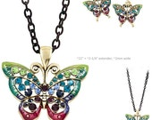 MERZIEs gold U PICK  insect BUTTERFLY epoxy 2-5mm crystals black chain necklace multi-color pendant &/or earrings - SHIPs from USA