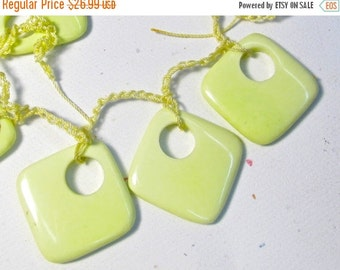Summer Sale Lemon Chrysoprase Briolette BEads, Cushion Square Hoop Briolette Beads,  1 Strand 28mm Pairs