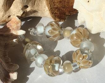 Handmade Lampwork Glass Beads SRA Sage Blooms Encasement Florals (11)
