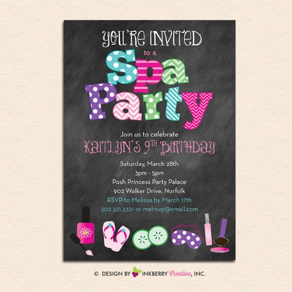 Chalkboard Nail Polish: Spa Party Chalkboard Style Invitation With Nail Polish Spa