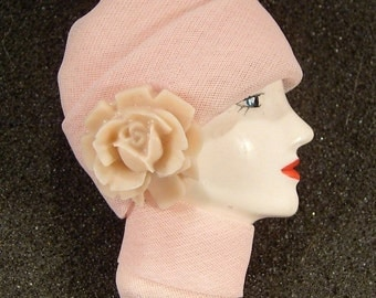 LADY HEAD doll FACE Porcelain-Look Resin Brooch Pin Figural Pink Flower Spring - Penelope