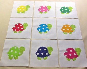 Set of  9  Bright Polka Dot Turtle Iron-on Appliques for Quilts and Clothing