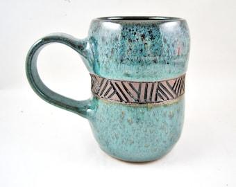 Ceramic mug, beer stein, handmade coffee mug, mug with initial 20 oz. - In stock