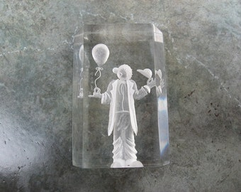 Clown, Reverse Carved Lucite Collectible