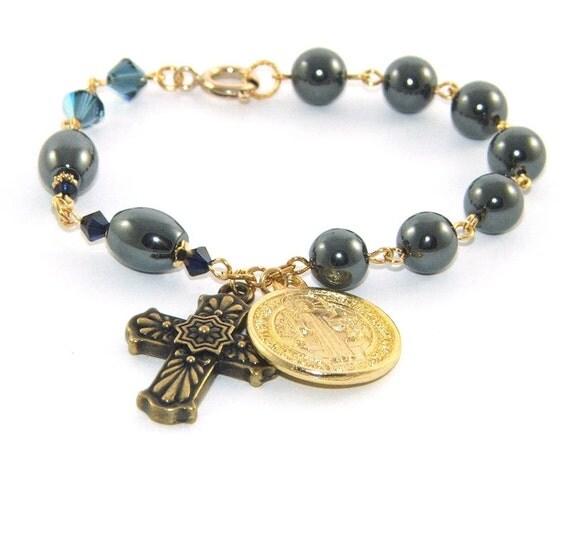 christian chaplet prayer bracelet st benedict medal