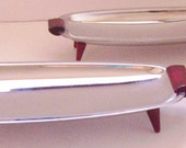 """Vintage """"Gourmates by Glo Hill, Canada"""" Shiny Chrome and Bakelite Serving Trays Set of 3"""