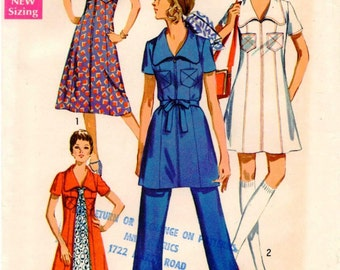 Vintage UNCUT Simplicity Pattern 8707 - Misses Midi-Dress or Mini-Dress with Princess Seaming & V-shaped Neckline, and Pants - Size 16