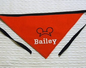 Mickey Mouse Personalized Dog Bandana sizes S to XL in tie style