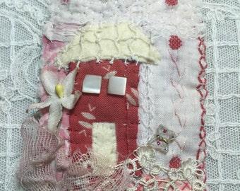 textile brooch, fiber art brooch, hand embroidery, cottage, flowers, original, ooak