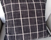 Rustic Woven charcoal black plaid decorative pillow with insert 13x26 18x18 20x20 22x22