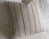 Rustic Woven ecru in black stripes pillow cover 13x26 18x18 20x20 22x22 24x24 26x26