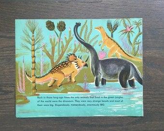 Mid Century Dinosaur Print Vintage Children's Book Page Triceratops Brontosaurus T Rex Illustration Dahlov Ipcar