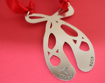 Personalized Ballet Shoes Christmas Tree Ornament - Nutcracker Gift - Ballerina - Aluminum Hand Stamped Holiday - Stocking Stuffer - 2016