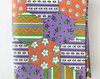 Vintage 60s Cotton Fabric - Bright Colors - Geometric Pattern - Lavender Orange and Lime Green