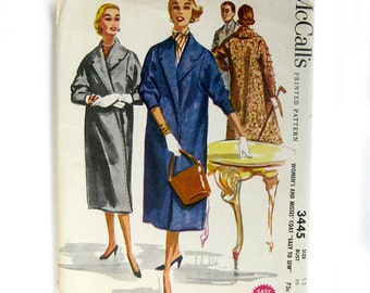 1950s Vintage Coat Pattern / McCall's 3445 / Women's Coat with Notched Collar Three-Quarter Push Up Sleeves / Size 12 /  UNCUT FF