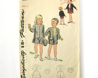 Brother and Sister Suit and Hat Pattern / Suspender Shorts / 1940s Vintage Sewing Pattern - Simplicity 1201  / Size 3