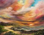 HAWAIIAN SUNRISE 16x20 Original Oil Painting Art Ka Iwi Coast Sandy Beach Oahu Ocean Island Paradise Sunset Hawaii Makapuu Tropic Sky Skies