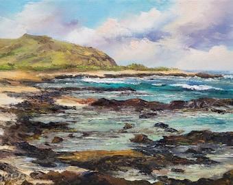 HAWAII BEACH Original 12x24 Palette Knife Oil Painting Large Art Tropical Hawaiian Mountains Oahu Sandys Irmas Tidepools Ka Iwi Alan Davis