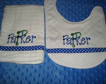Parker Personalized Bib and Burp Set - Choice of Name