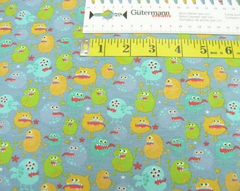 Jersey •  Small colorful monster on gray blue • Cotton Jersey kids Knit Fabric 0.54yd (0.5m) 002530