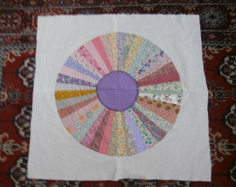 VINTAGE FAN QUILT squares block for pillow cover or table top